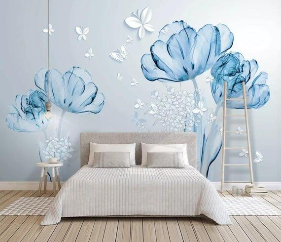 3d Blue Flowers Gngn738 Wallpaper Mural Decal Mural Photo Etsy Home Wallpaper Wall Stickers Living Room Wall Murals