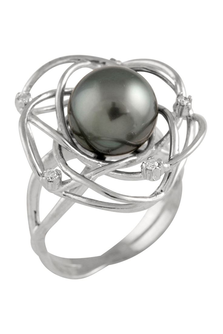 910mm Tahitian Pearl & Diamond Ring