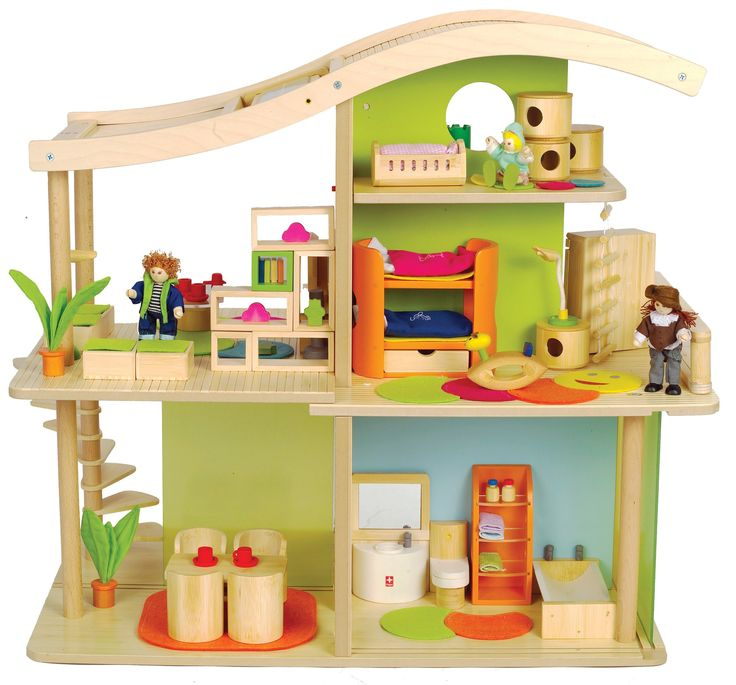 hape international hape bamboo sunshine dollhouse fully furnished toys games. Black Bedroom Furniture Sets. Home Design Ideas