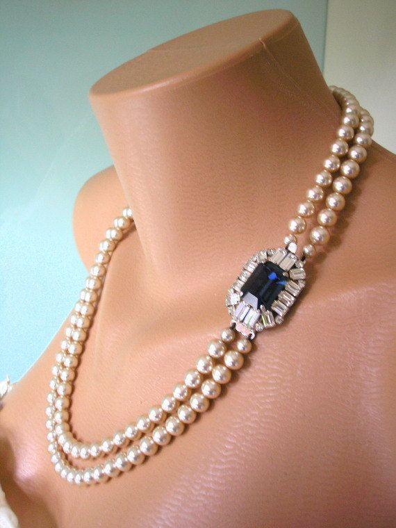 Gorgeous Vintage 1950s James Walker Of London Great Gatsby Art Deco Style Pearl And Sapphire Rhinestone Bridal Necklace From CrystalPearlJewelry on Etsy, $101.00