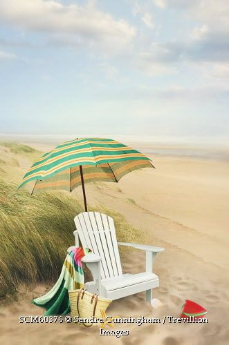 Trevillion Images - adirondack-chair-and-umbrella-by-the-seaside