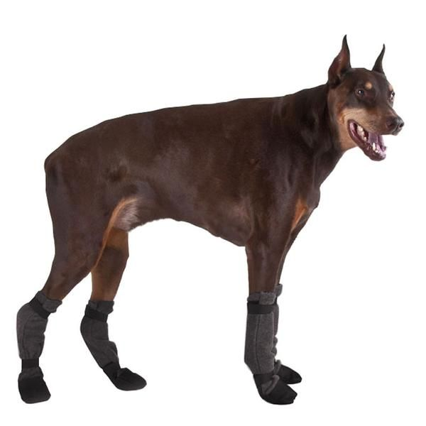 Non-slip Doberman Pinscher dog booties stay on for traction. Fleece Doberman dog winter boots. Injured dog protective booties. Doberman dog slippers for sale.