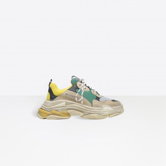 Shop Balenciaga Multimaterial Trainers With Quilted Effect Yellow/Green Men in Balenciaga Sale online with Balenciaga Sneakers Sale and Cheap Balenciaga #fashion #lifestyle #shoes #sneakers #spring #ss18