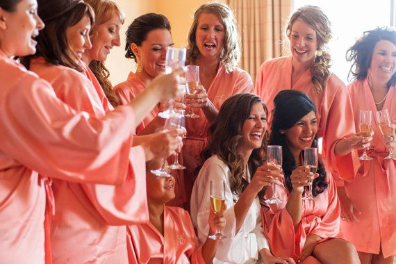 BRIDESMAID ROBES  CORAL  Handmade to Order by MaySilk on Etsy, $37.00