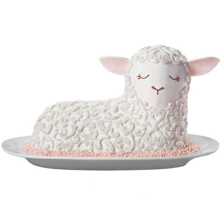 A classic lamb cake really shines with molded fondant wool