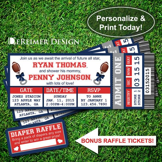 Sports Ticket Baby Boy Shower Invitation, New England Patriots, Football, Blue and Red, DIY Word Template +BONUS Diaper Raffle Tickets by DeReimer DeSign for only $10