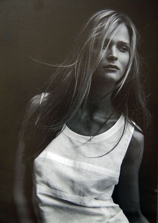 Carmen Kass for Les Copains by Peter Lindbergh