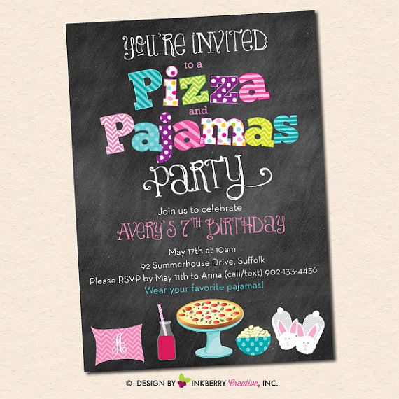 Pizza and Pajamas Party Invitation  Chalkboard by inkberrycards