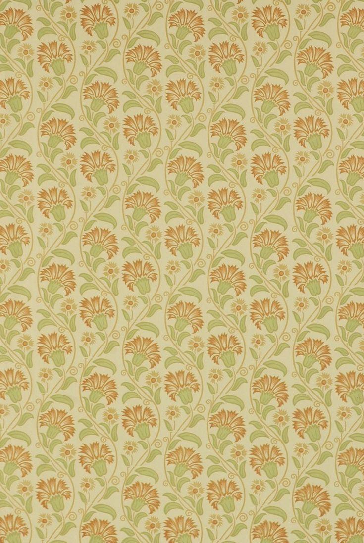 Italian Block Print Rust & Sage Floral