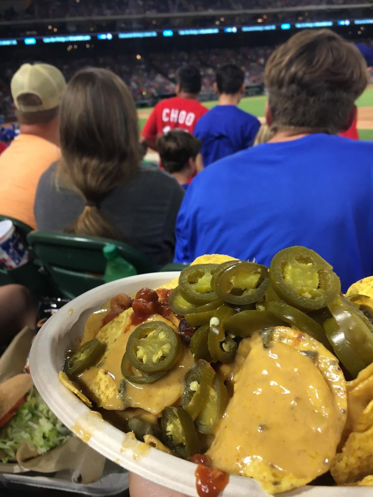 Enjoying the Rangers game with some vegan nachos this is the future