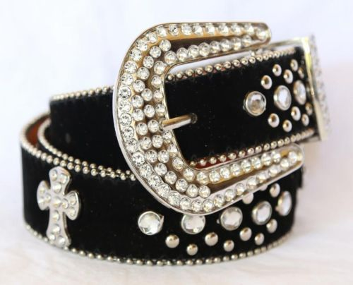 Rodeo-Western-Cowgirl-Rhinestone-Cross-Studded-Suede-Black-Fx-Leather-Belt-M-36