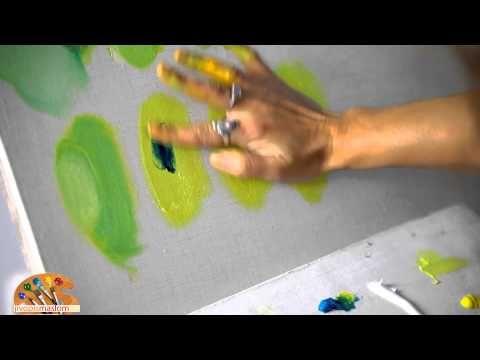 Уроки живописи маслом от Ольги Базановой: смешение цветов - зеленый - YouTube