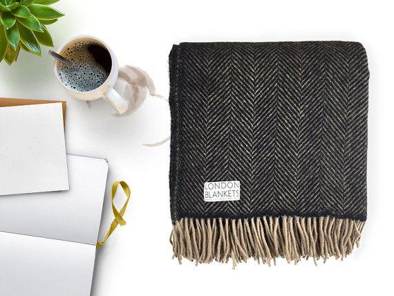 Charcoal Grey Throw Blanket 100 Percent Wool Charcoal Grey