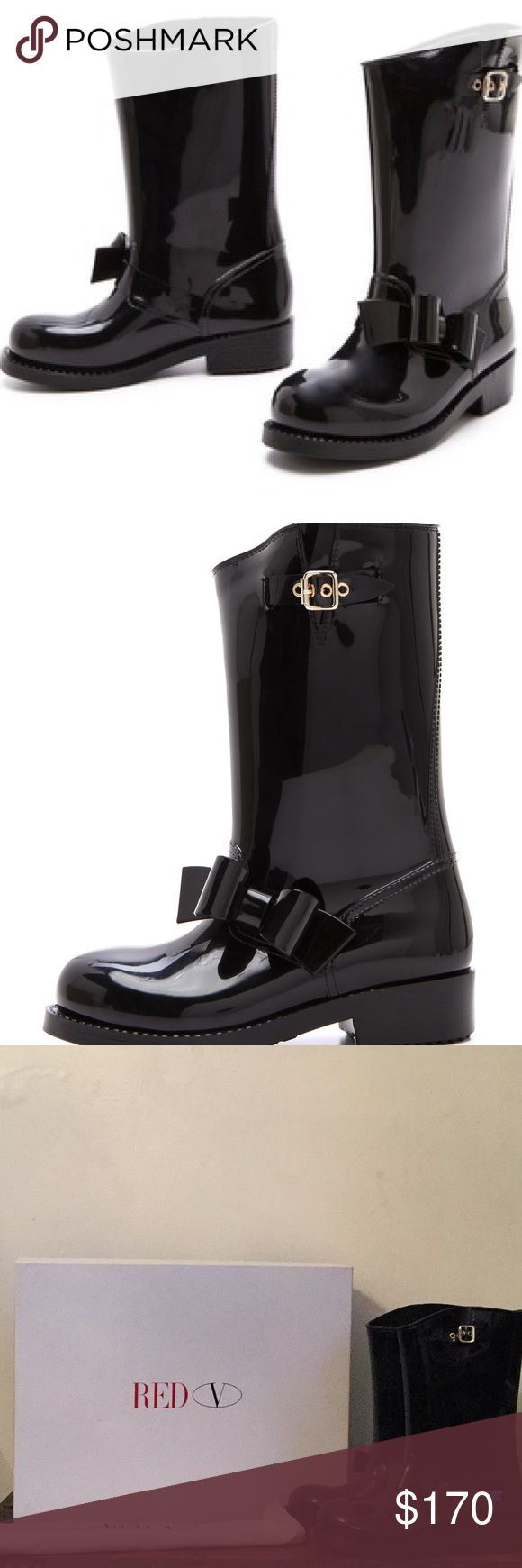 RED Valentino bow rain boots A soft rubber bow puts a cheerful twist on these shiny RED Valentino rain boots. A pale gold-tone buckle accents the shaft. Rubber sole. Size says 41, but runs small would fit a size 10 best  New in box with dust bag RED Valentino Shoes Winter & Rain Boots