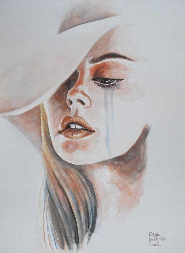 Rostro de mujer llorando en acuarela