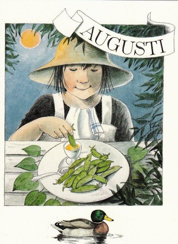Août par Lena Anderson (1939) illustratrice suédoise. Son site : http://www.linneaimalarenstradgard.se/