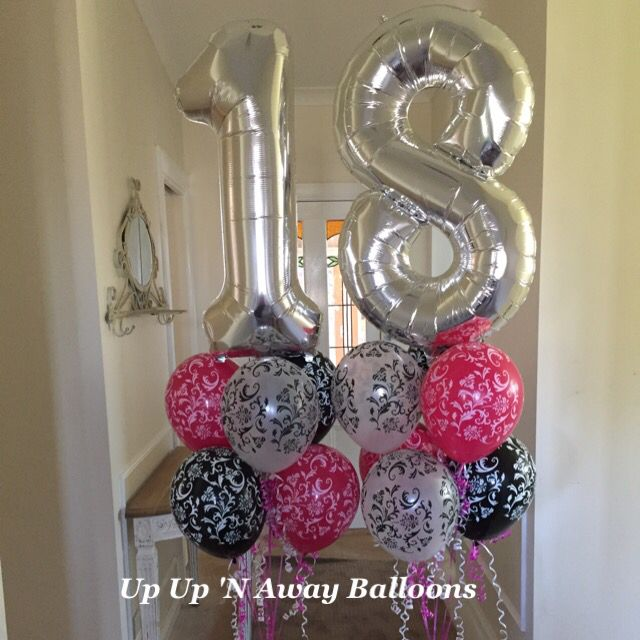Gigantic Foil Numbers with 6 Damask latex underneath and bubble balloons at the base. #18thbirthday #specialrequestorder