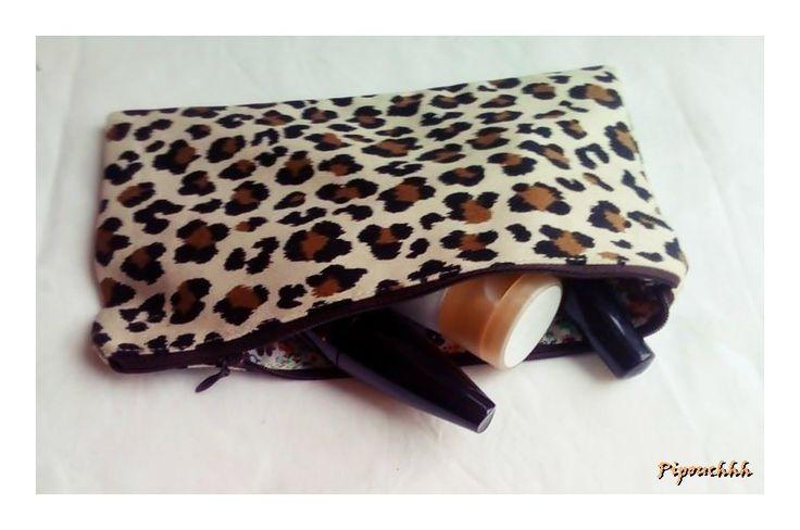 Trousse à maquillage toile de coton léopard : Trousses par pipouchhh