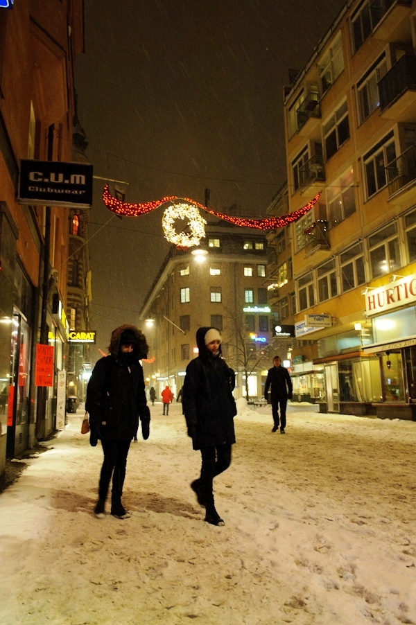 Christmas lights along Drottinggatan, Stockholm - Winter photography by Lola Akinmade Akerstrom