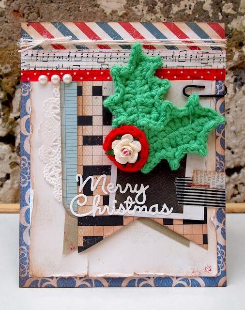 Crochet holly card