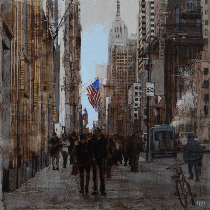"Patrick Pietropoli, New York Street II, 2014, Oil on Linen, 20"" x 20"" #art #axelle #painting #nyc #streetscape #urban"