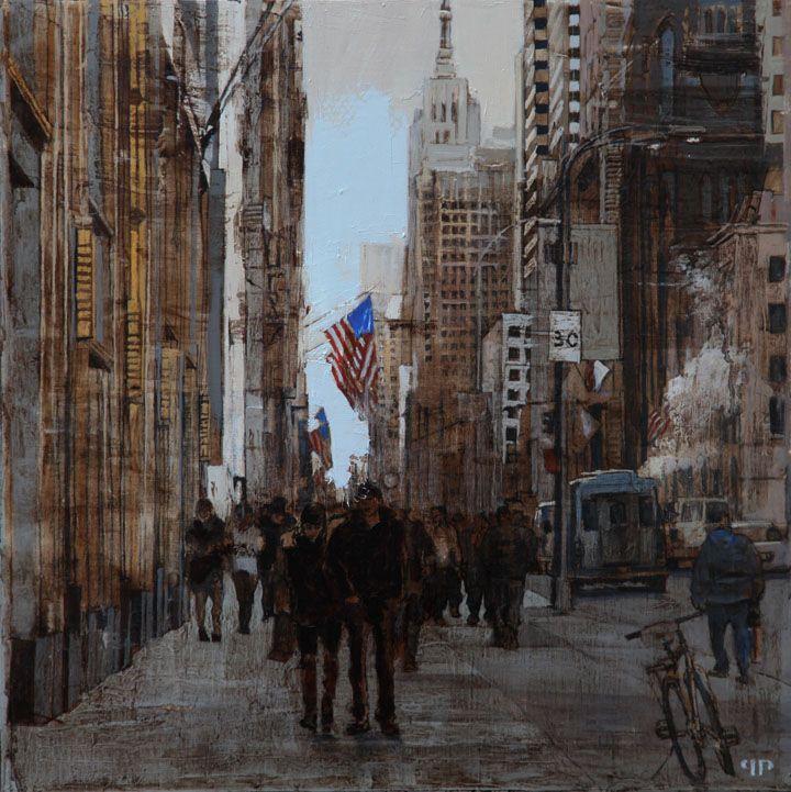 "Patrick Pietropoli, New York Street II, 2014, Oil on Linen, 20"" x 20"" #art #axelle #painting #nyc #streetscape #urban"