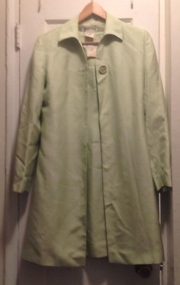 Vintage Designer Women Green Matching Dress Coat 100 Silk Size 42 Madein Italy Fashion Clothing Shoes With Images Herringbone Coat Floral Cotton Dress Vintage Outfits