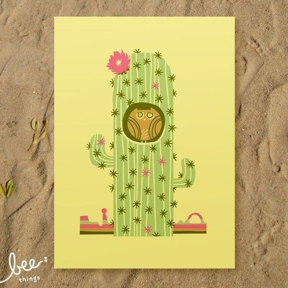 pygmy cactus owl print