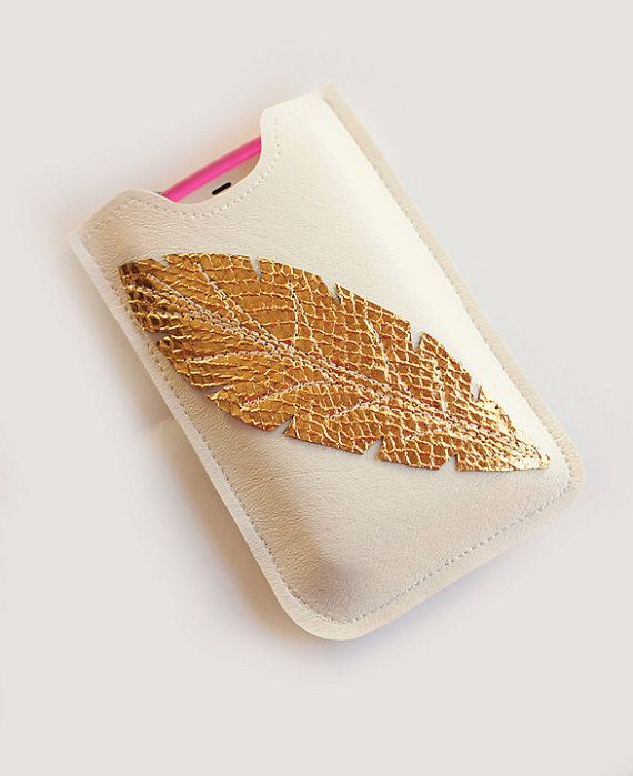 White Leather Iphone sleeve, Smartphone case, iPhone Case, case for Android, iPhone 4s, iPhone 4, on Etsy, $18.00