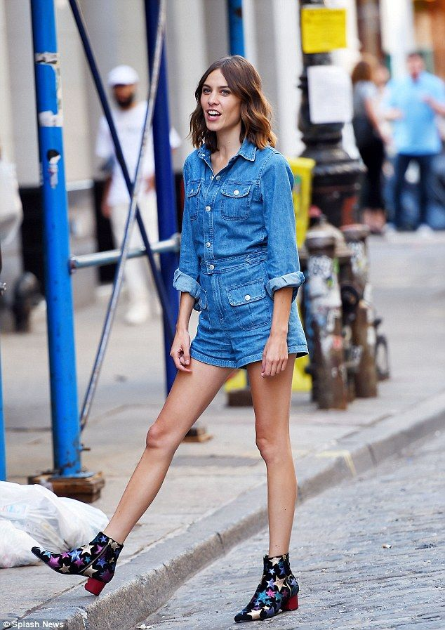 Alexa Chung put her long limbs on display in a jean romper when she arrived to the launch of her denim collection at the AG Jeans store in New York on Thursday