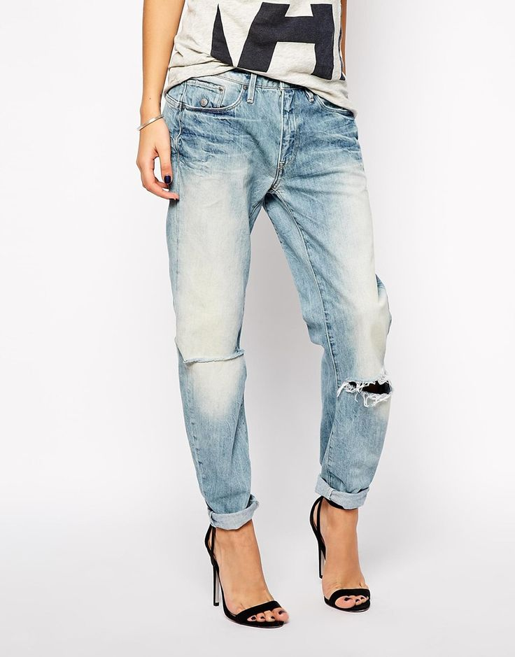 G+Star+Type+C+3D+Boyfriend+Jeans+With+Ripped+Knees