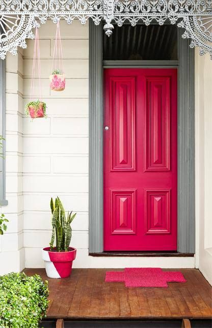 Dulux Australia....The colour on the door is 'Scarlet Ribbons' and the door frame is painted in 'Klute'.