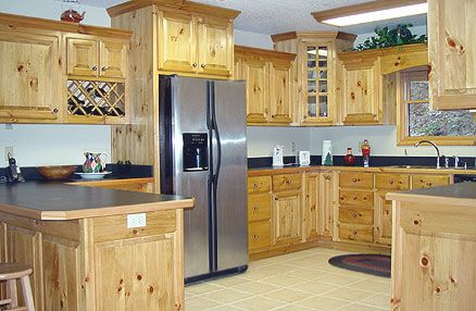 Nice Big Kitchen With Knotty Pine Kitchen Cabinets
