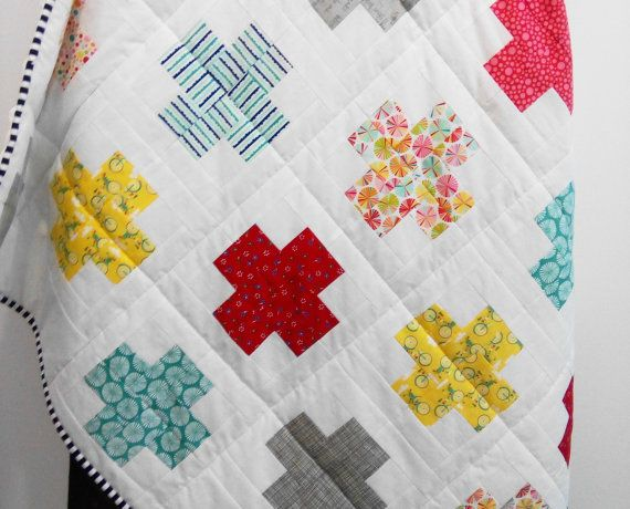 Plus Quilt / Swiss Crosses Quilt / Baby by Hearttoheartquilts