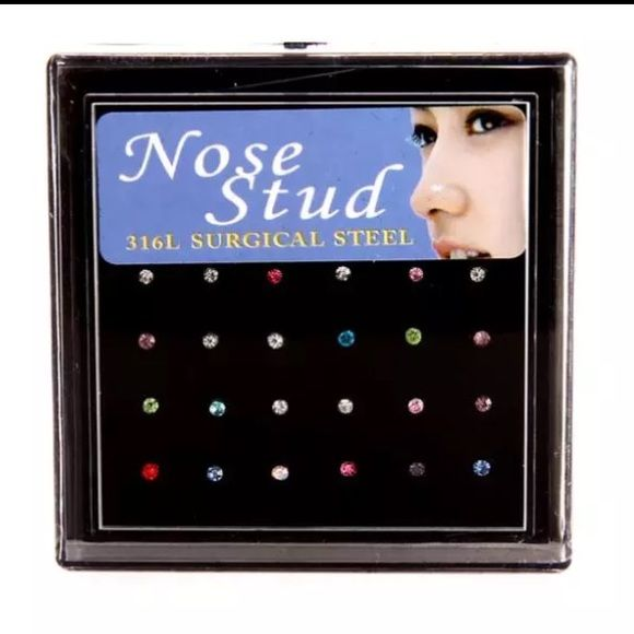 24 Pieces- Multi Color Nose Studs No Trades, Not brand listed  Betsey Johnson Jewelry Rings