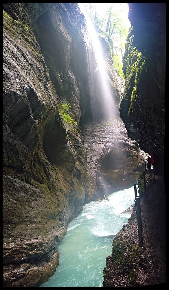 Partnach gorge - near Garmisch Partenkirchen. You cannot hear your thoughts over the roaring water, and there are small waterfalls pouring down from both sides. One of my most favorite places on earth.
