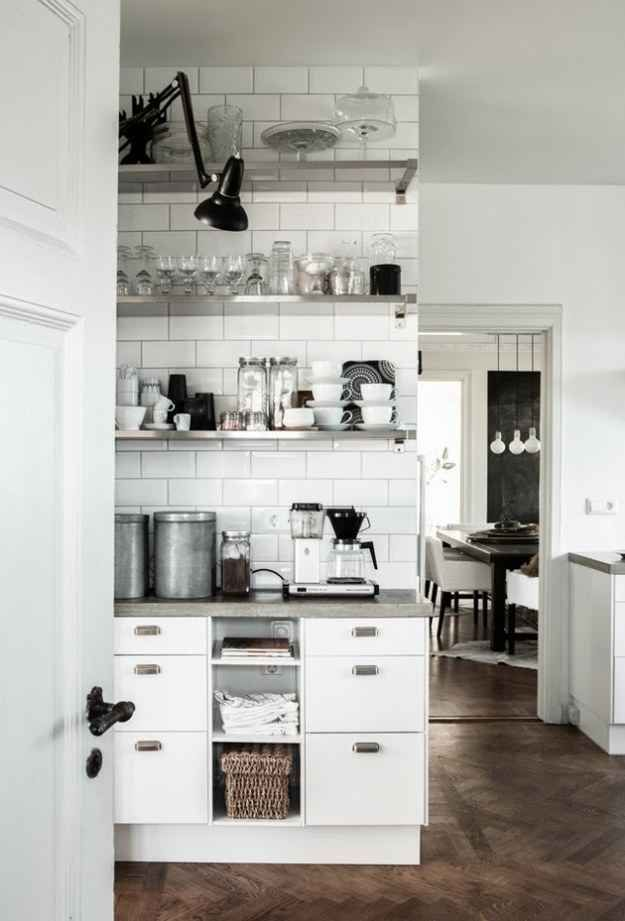 OPEN SHELVING | KITCHEN :: The glass pieces allow for an open, airy feel.