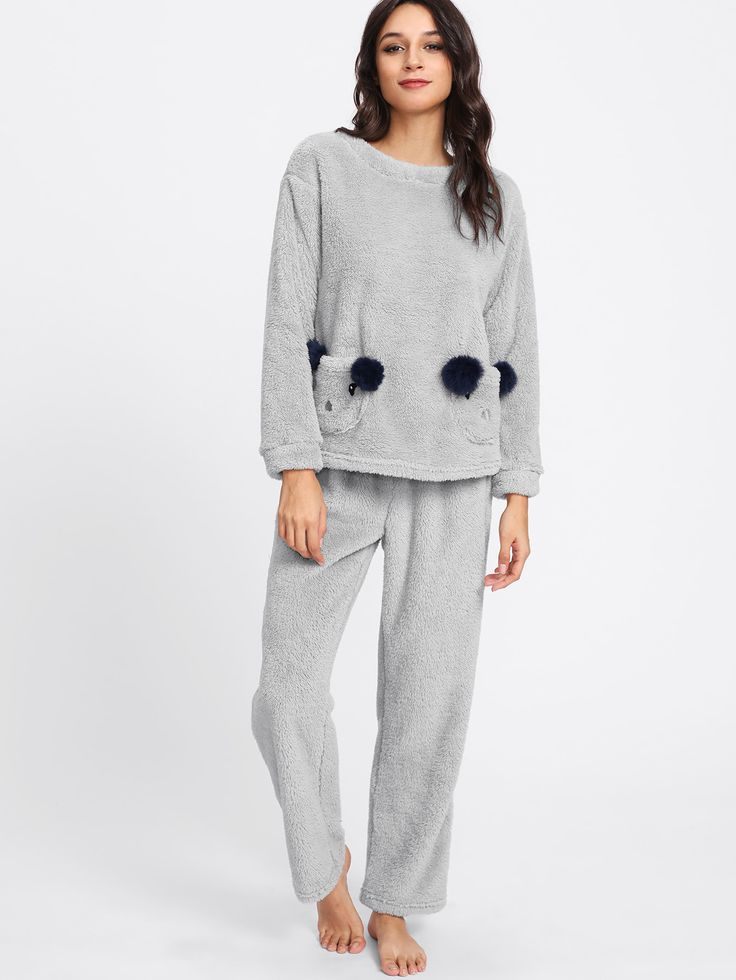 Shop Animal Pocket Front Fleece Top & Pants Pj Set online. SheIn offers Animal Pocket Front Fleece Top & Pants Pj Set & more to fit your fashionable needs.