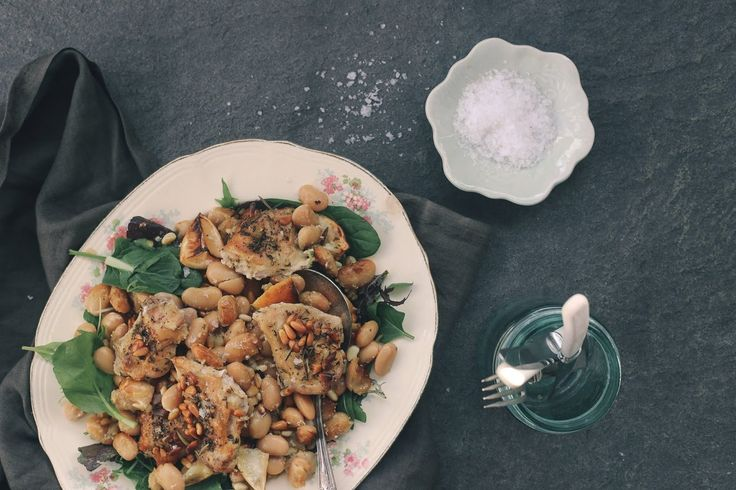 BAKED ROSEMARY CHICKEN WITH PINE NUTS & BUTTER BEANS – Eleanor Ozich