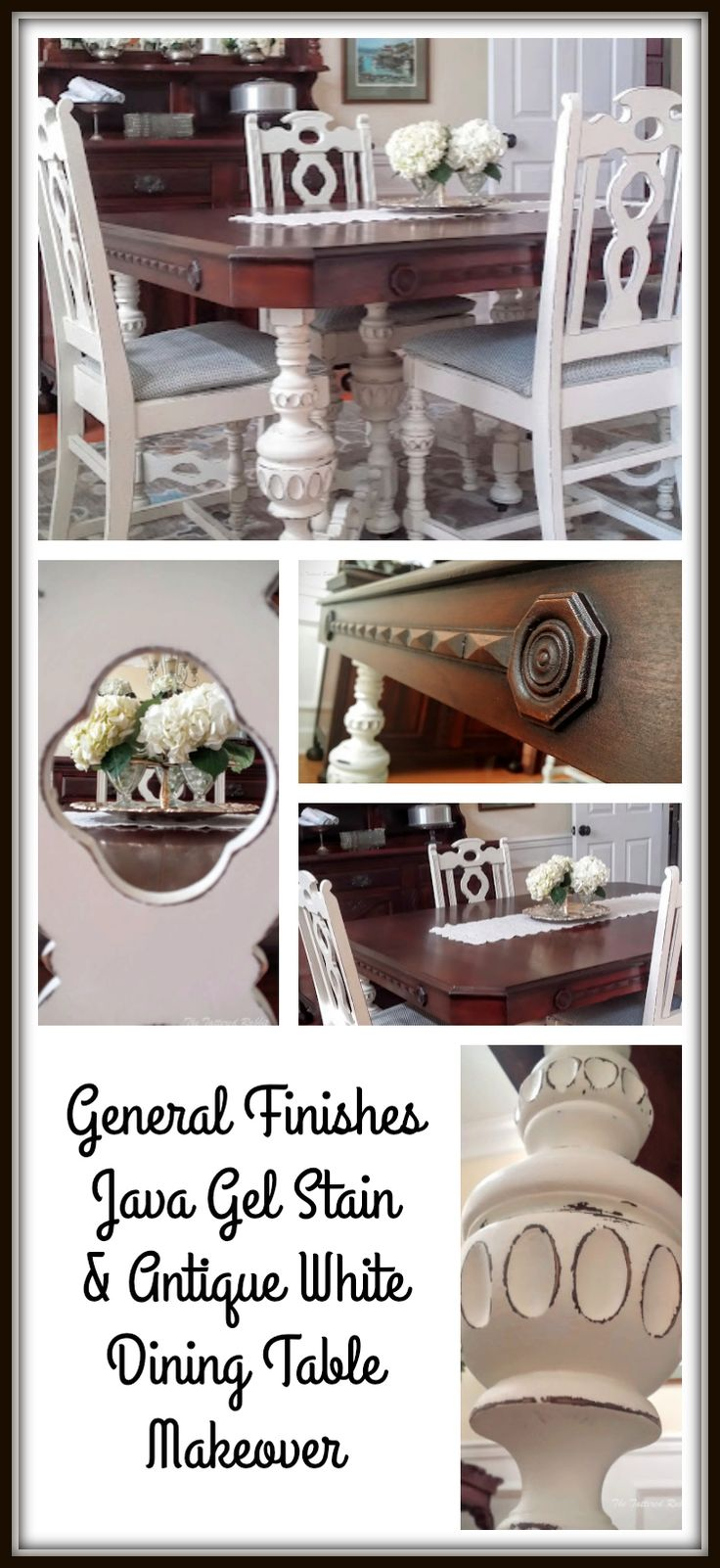 Dining room table makeover was done with Java gel stain and antique white milk paint from General Finishes to fit the French Country theme.