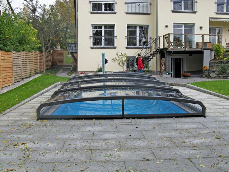 Low and inconspicuous swimming pool enclosure RIVIERA by Alukov a.s.