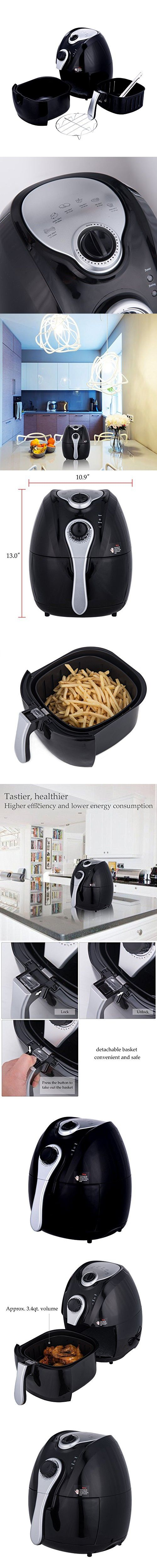 CO-Z 3.4 Quart Electric Air Fryer No Oil/Less Oil with Time & Temperature Control, Rapid Air Circulation System &Detachable Basket (Black Large)