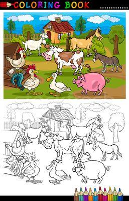 Stock fotó: Rajz · farm · állatok · könyv · vicces · gyerekek