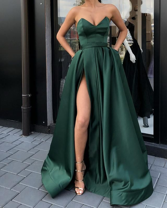 Item Description   A Glamorous Form Fitting Satin Dress Featuring a V- Neckline With Leg Split design.Perfect For Prom 1051967c2