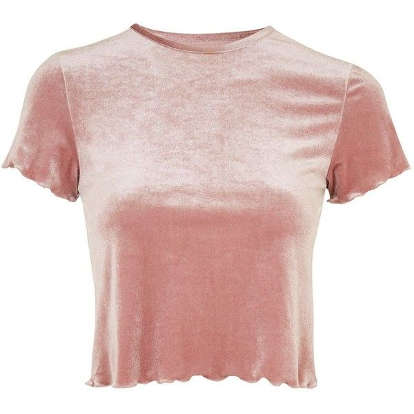 ba889c00bf Velvet Lettuce T-Shirt ($29) ❤ liked on Polyvore featuring tops, t-shirts,  topshop, pink tee, velvet tees, pink top, velvet top and velvet t shirt