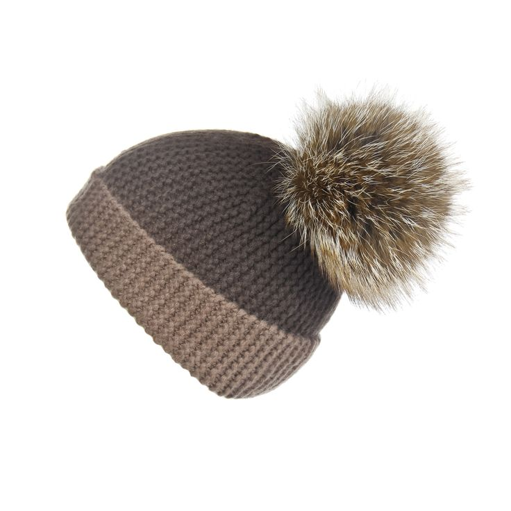 Pearl Stitched Brown Ombré Cashmere Hat with Caramel Pom-Pom