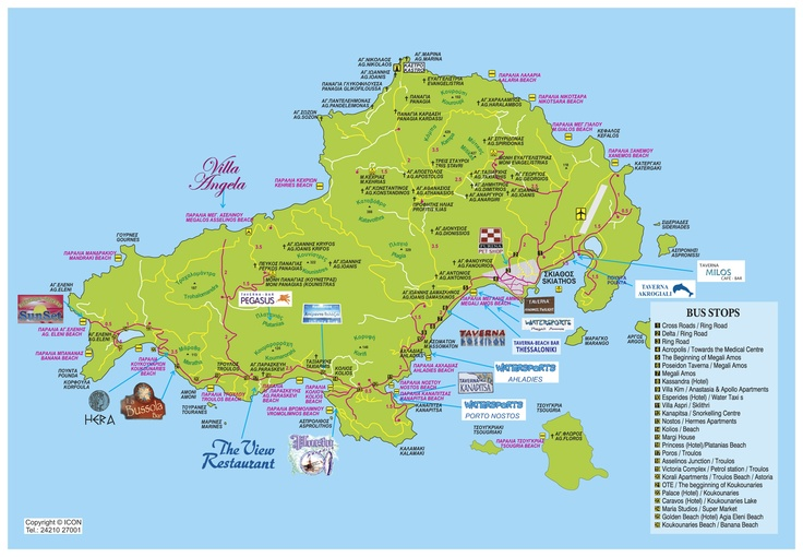 Map of Skiathos island