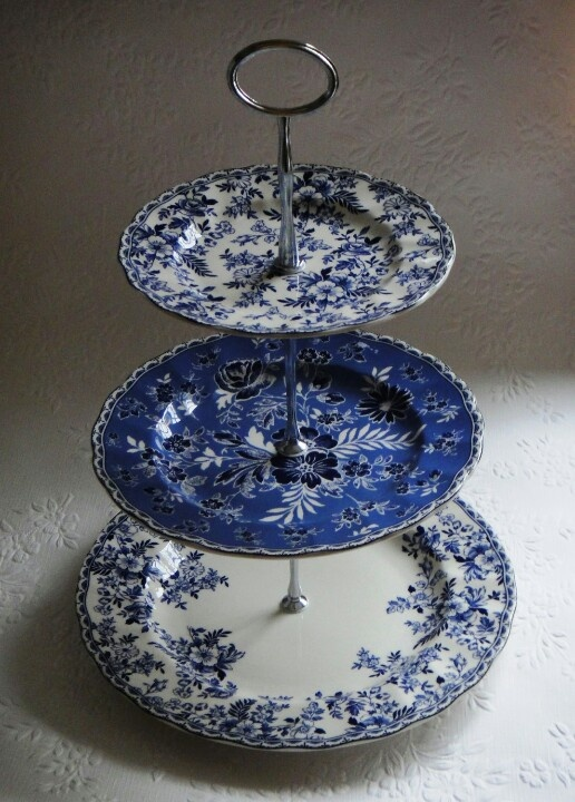 Blue and White ? ~ ? 3 Tier Cake stand Johnson Brothers Devon Cottage Blue White Floral & 2129 best DECORATIVE CAKE STANDS images on Pinterest | Blue and ...