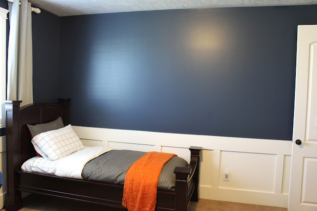 Navy Blue and Orange boys room, The Casablanca Transformation