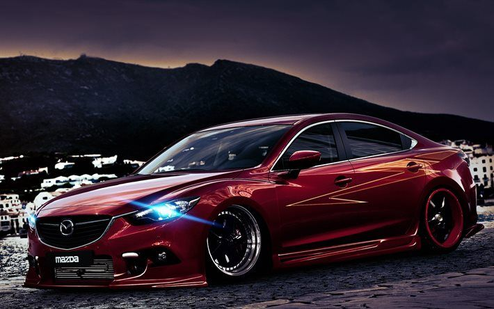 tuning, Mazda 6, headlights, low rider, red Mazda, japanese cars, stance